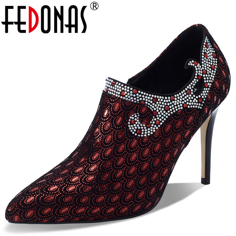FEDONAS Elegant Pumps Women Spring Autumn Shallow Pumps Prom Party Shoes Woman Genuine Leather Pointed Toe Side Zipper Pumps