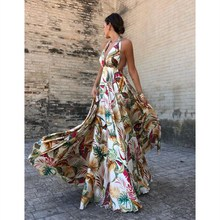 Fashion Women 2019 Summer Deep V-Neck Bohemian Dress Floral Print Sleeveless Backless Empire Maxi Dress Beach Party Dresses rose backless design floral print deep v neck sleeveless dresses
