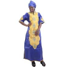 MD vestidos africanos para mujer, novedad de 2020, Vestido largo de bordado africano, vestido dashiki para mujer con envolturas de cabeza, ropa para mujer