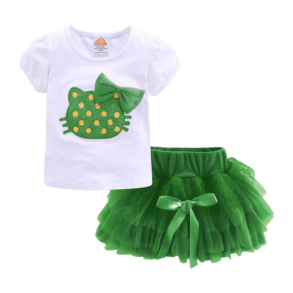 Mudkingdom Girls Outfits Cartoon Cat Short Sleeve Tops Princess Skirt Clothes Set Summer 2