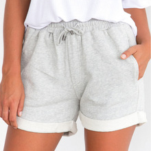 Летние повседневные скрученные боковые шорты женские трикотажные спортивные шорты женские эластичный шнурок на талии карманные короткие брюки