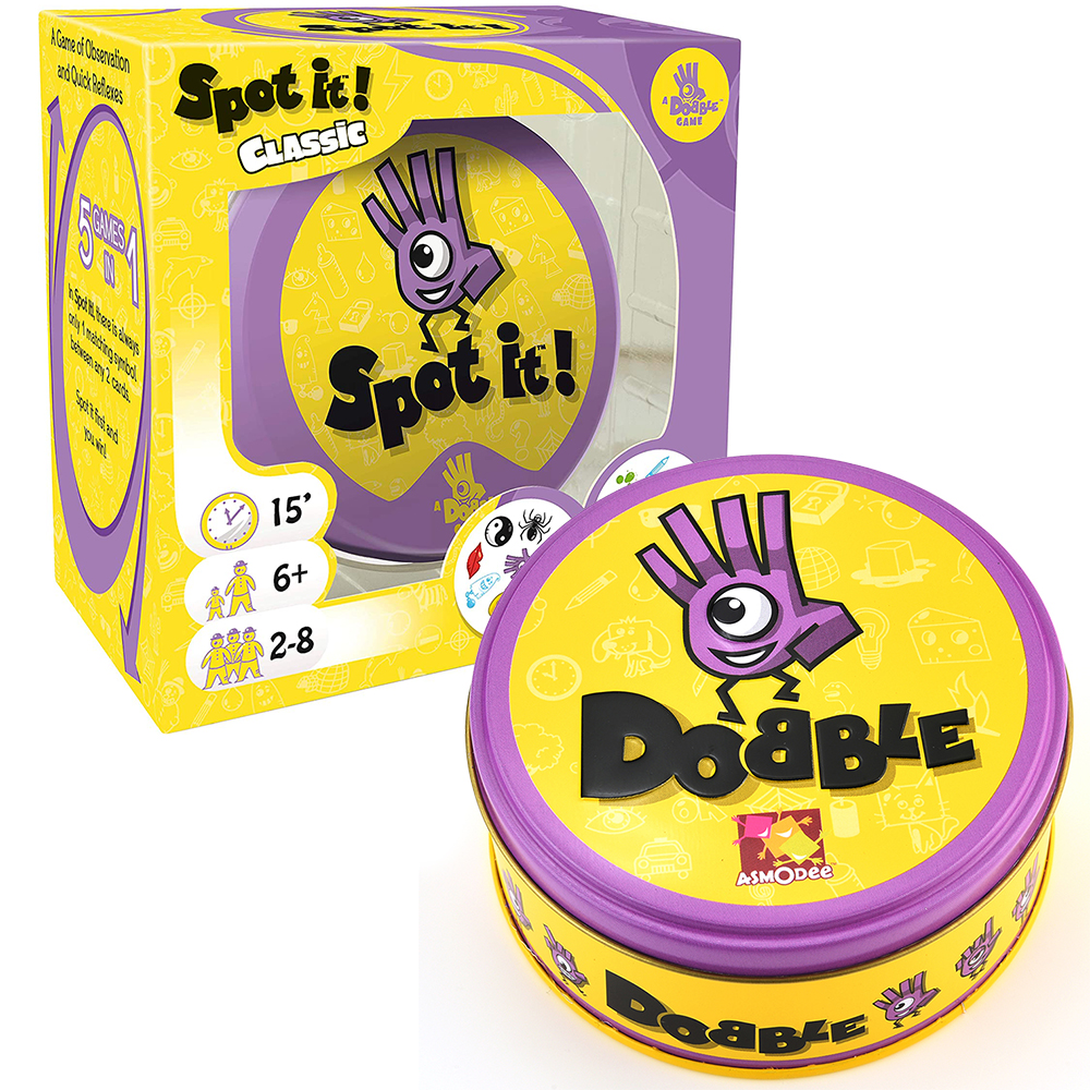 Dobble Spot It Toy Iron Box 55 Cards Sport Fun Family Animals Jr Hip Kids Board Game Gift Holidays Camping 123 Tin Gift Box 1