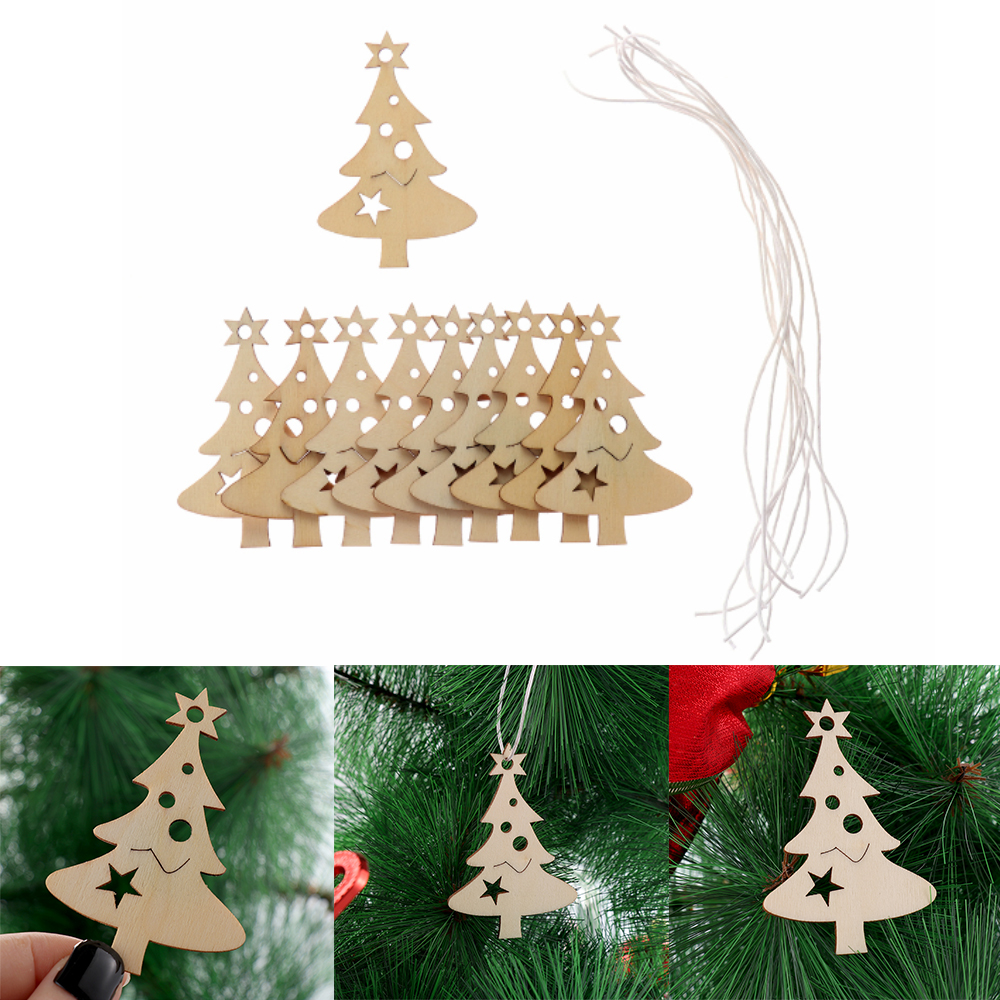 Carving Hanging Ornaments Xmas Tree Wood Pieces Wooden Slice Merry Christmas