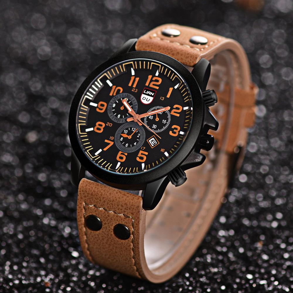 Luxury Beautiful Men Sport Waterproof Leather Watch 2021