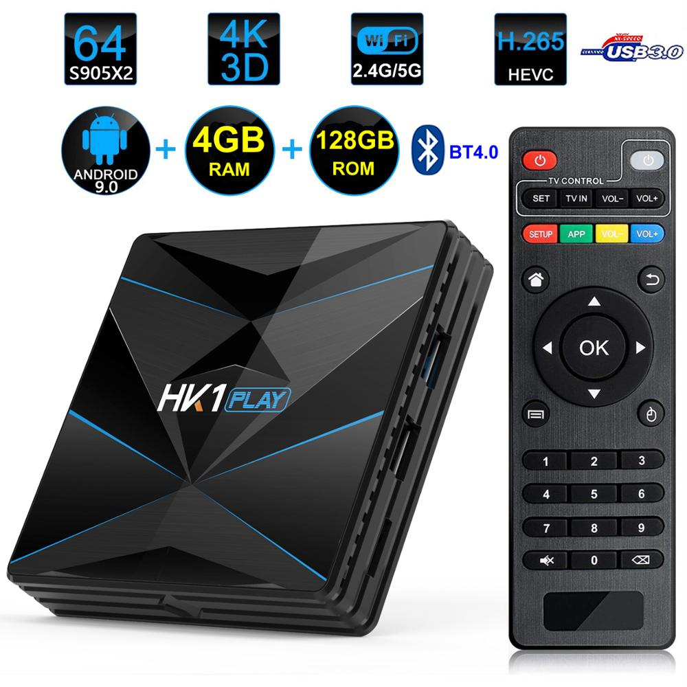 HK1 Spielen Android 9.0 <font><b>Smart</b></font> TV Box Amlogic S905X2 4GB RAM 128GB ROM USB 3.0 BT4.0 2,4G 5G dual WIFI 3D 4K H.265 Media Player image