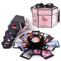 Caja hexagonal de explosión sorpresa libro de recuerdos y fotos hecho a mano de manualidades álbum de boda caja de regalo para San Valentín Cajas de Regalo de Navidad