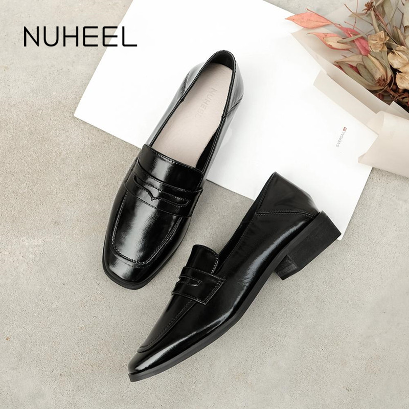 NUHEEL women's shoes new mid-heel soft leather black retro thick heel with skirt dress British style single shoes women