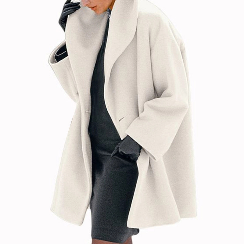 Women Winter Europe America Style Solid Color Scarf Collar Oversized  Fashion Long Sleeve Single Button Female Office Lady Coat