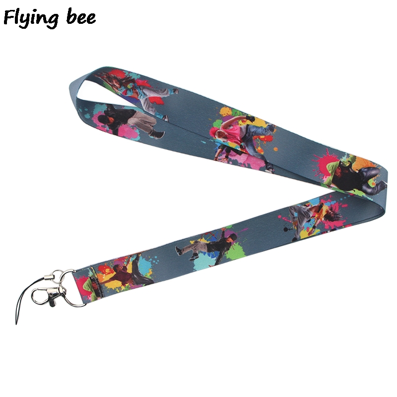 Flyingbee Dance Hiphop Cool Lanyard Keychain Keys Holder Women Strap Neck Lanyards For Keys ID Card Phone Lanyard X0369