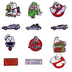 Ghostbusters Жесткий Эмаль на булавке для сбора с белым приведением; Металлическая брошка мультфильм Back To The Future нагрудные значки модное ювелирно...