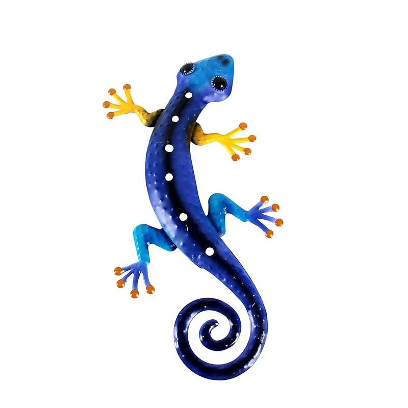 Home Decor Metal Gecko Wall Decor For Garden Decoration Sculpture Outdoor Statues Animales Jardin