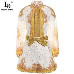 LD LINDA DELLA créateur de mode femmes ensembles automne Vintage à manches longues imprimé Blouses et Shorts 2 pièces costumes