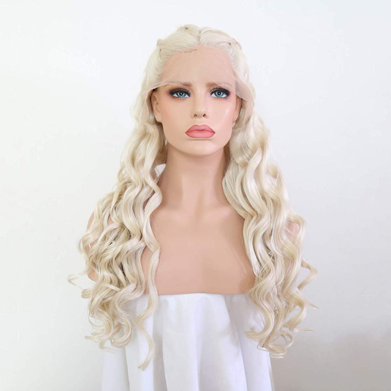 AIMEYA Pre Braided Blonde Body Wave Lace Front Wigs 18-26Inches Daenerys Targaryen Cosplay Wig Heat Resistant Fiber Hair Wigs