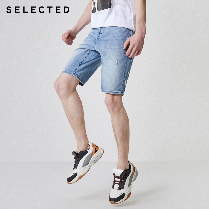 SELECTED Men's Spliced Loose Fit Summer Lycra Denim Shorts C 4192S3511