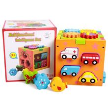 Early Educational Children Cognitive Multifunctional Eco-friendly Wooden Puzzle Toys Geometric Sliding Intelligence Box Toys