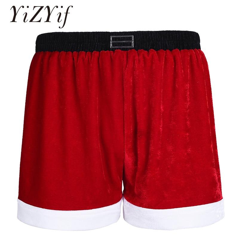 YiZYiF Mens Velvet Christmas Bikini Briefs Underwear Red Santa Claus Costume Lingerie