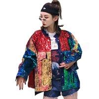 QING MO Color Block Sequin Jacket Women Patchwork Denim Jacket Women Loose Cowboy Jacket Coat Spring Hip Hop Coat ZLDM065