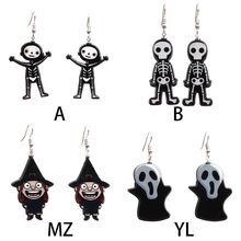 Women  Style Vintage Personality Halloween Party Human Skeleton Shape Acrylic Dangle Earrings