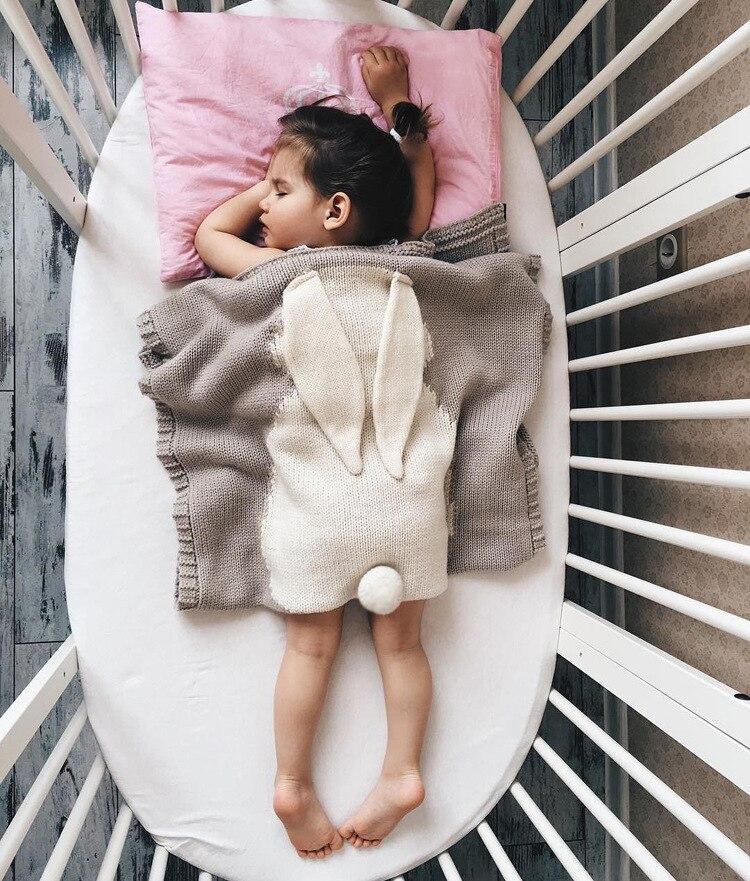 Cobertores do bebê Recém-nascido Bonito Da Orelha de Coelho Grande Cobertor Quente e Macio de Malha Cama Cobertores Swaddle Crianças Toalha de Banho Do Bebê Da Criança