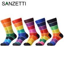 SANZETTI 5 Pairs/Lot New Rainbow Socks Men Women Unisex Happy Colourful Combed Cotton Crew Sock Party Gifts Creative Dress