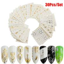 30pcs/set Gold Silver Feather Flower Design Water Sticker Nail Art Decals for
