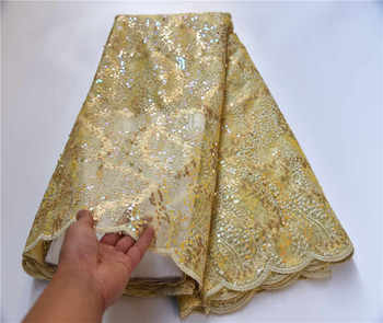 African Gold Organza Sequins Lace Fabric 2020 Hot Sale Nigerian Wedding Dress High Quality French Net Cord Lace Fabric PSA939-1