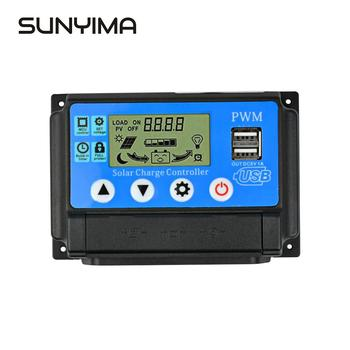 SUNYIMA 50A 12V 24V Auto PWM Solar Charge Controller 40A 30A 20A 10A for Solar Panels Regulator Controller with Dual USB lcd 60a 50a 40a 30a 20a 10a 12v 24v pwm solar charge controller 5v output solar cell panel charger regulator pv
