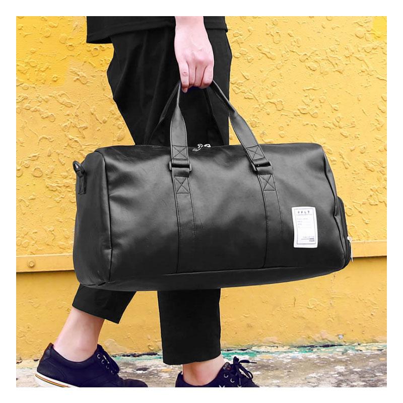 High Quality Travel Bag Women Black PU Leather Gym Bags Hand Fitness For Men Duffle Bag Fashion Sac Shoulder Bags XA88WB