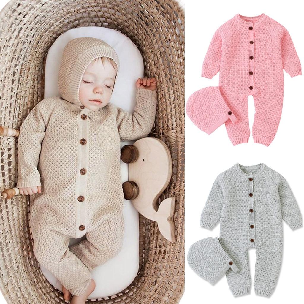 Newborn Infant Baby Romper Girl Boy Winter Warm Coat Children Kids Long Sleeve Knit Romper Jumpsuit Hat 2Pcs Outfits 0-24M