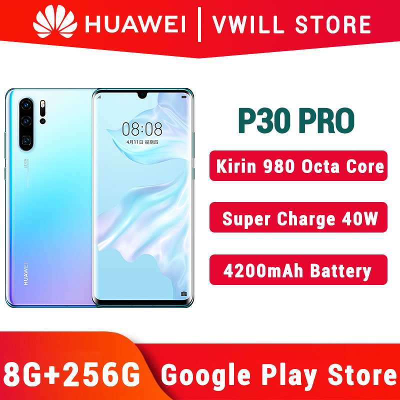 Versão global huawei p30 pro mobilephone 6.47 polegada kirin 980 octa núcleo 8gb 256gb in-screen 40mp 4200mah nfc 40w supercharge