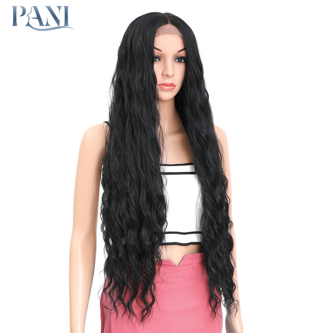 Pani 38 Polegada perucas sintéticas encaracoladas longas