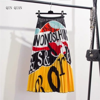 2019 New-Coming Summer Printing Cartoon Letter Pattern High Street Europen Style Women Skirts Party Holiday Elastic