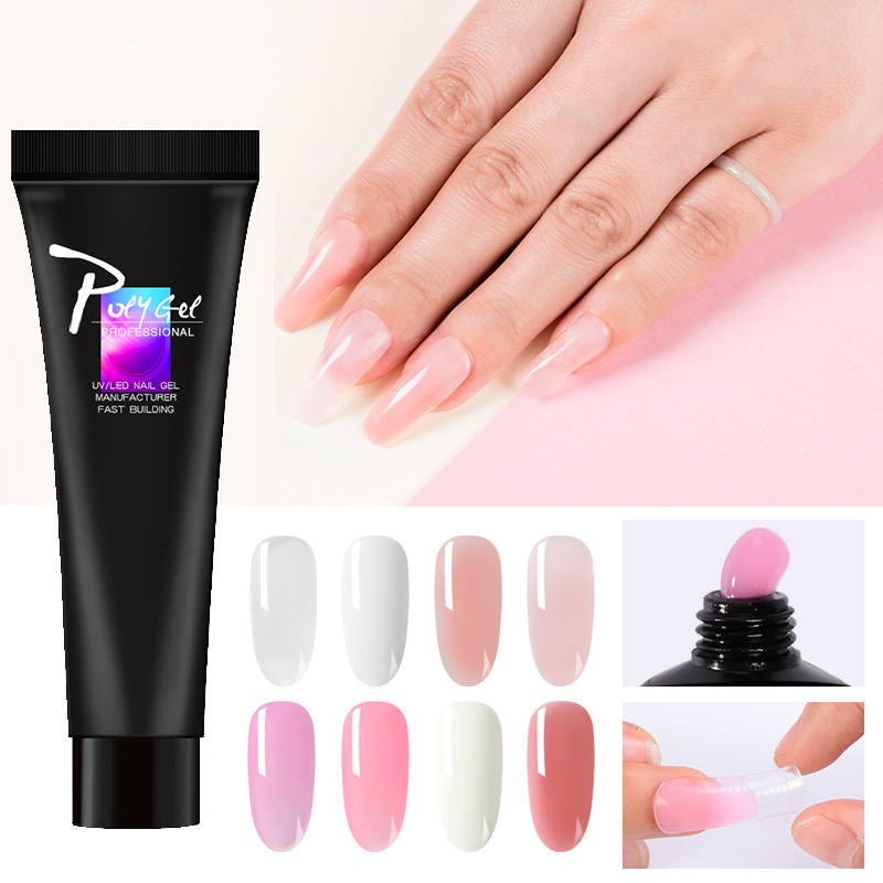 Bukio Extension Nail Poly Gel Quick Builder Gel Varnish French Nail Clear Pink Withe Nail Art Polygel 11g