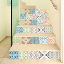 6 шт/компл 3d Красивая Мандала лестница самоклеящаяся водостойкая