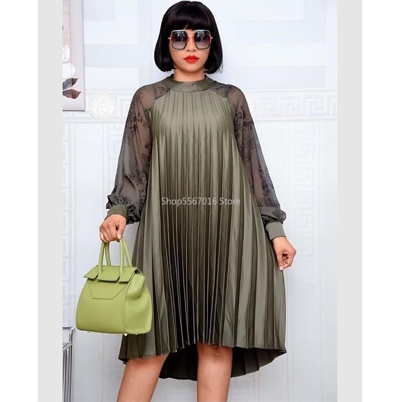 Africano design impressão dashiki vestido chiffon plissado solto muçulmano bazin maxi robe vestidos broder riche sexy senhora festa de noite