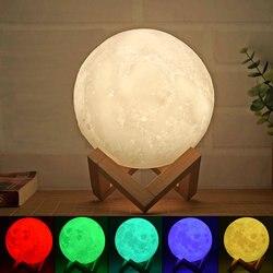 Перезаряжаемый светильник с 3D принтом Луна USB светодиодный ночник креативный сенсорный выключатель светильник Луна для украшения спальни ...