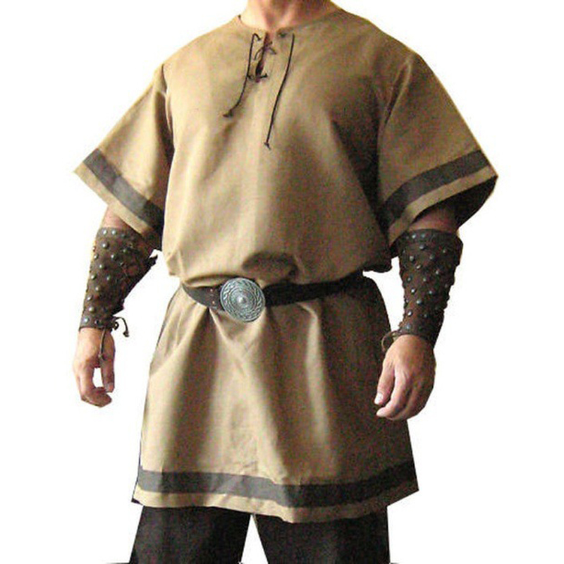 18th Century Men Viking Knight Tee Shirt Medieval Renaissance Robes Warrior Pirate Tops Coat Outfit Stage Party Cosplay Costumes