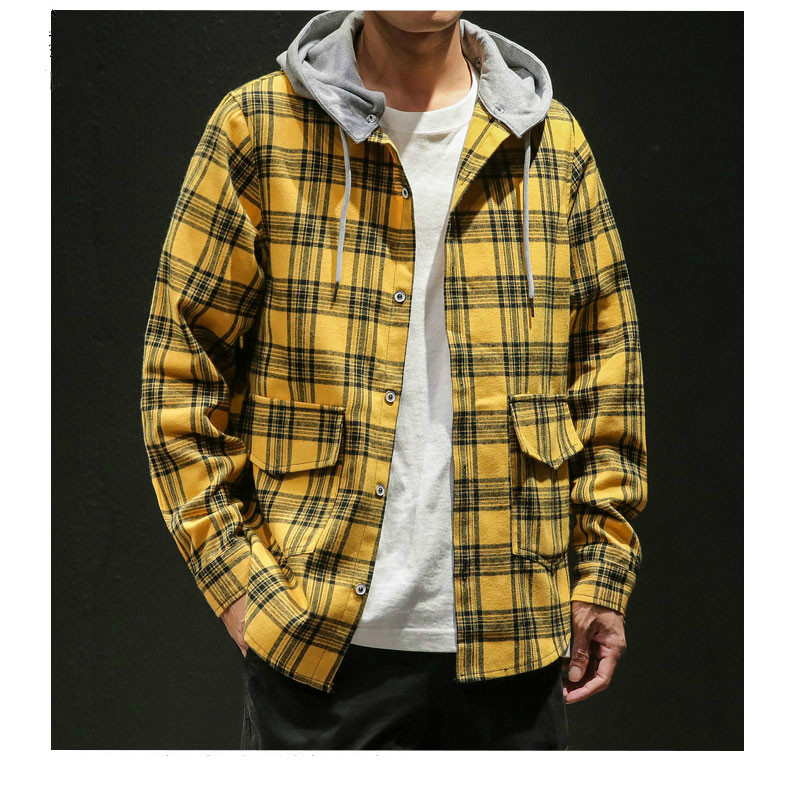 Brand Flannel Shirt Men 2020 Spring Fashion Plaid Casual Shirts Hip Hop Streetwear Japan Hooded Detachable Plaid Shirt Plus Size
