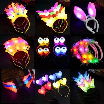 1pcs Flashing Glow Flower Headband Women Crown Wreath Light  Hairband Rave LED Party Supply Wedding Christmas Hair Wear Navidad party glowing wreath halloween crown flower headband women girls led light up hair wreath hairband garlands gift