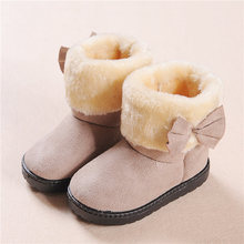 Winter Plush Baby Girls Snow Boots Cute Warm Shoes Bow Flat Baby Toddler Shoes Outdoor Snow Boots Girls Kids Shoe winter 2018 girls sheepskin wiz fur leopard print snow boots baby toddler little kid outdoor warm fashion children brand shoes