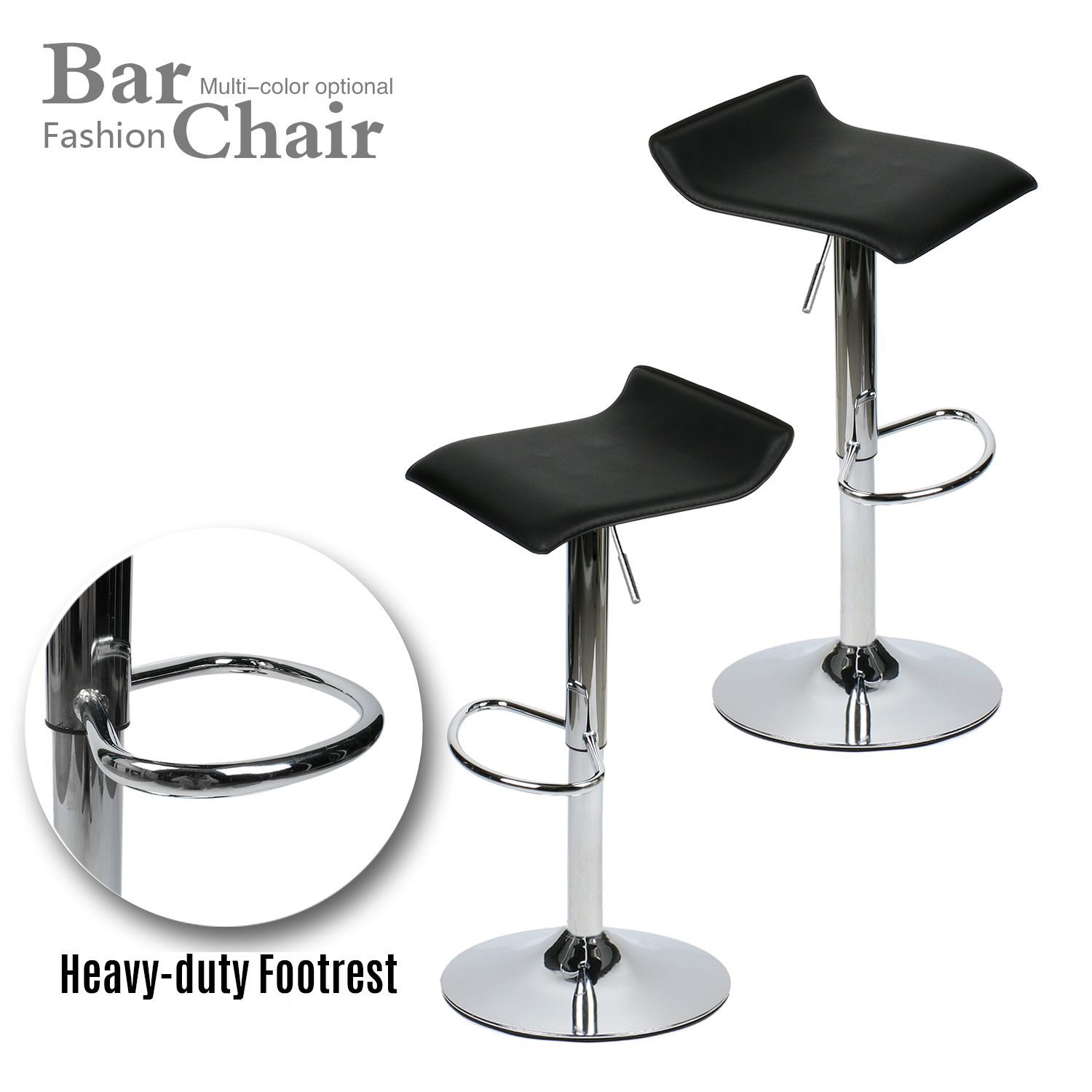 Modern Set Of 2 Bar Stool PU Leather Hydraulic Swivel Dining Countertop Chair
