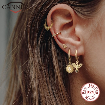 CANNER Real 925 Sterling Sliver Zircon Circle Hoop Earrings for Women Cute Animal Sunflower Cross Drop Jewelry