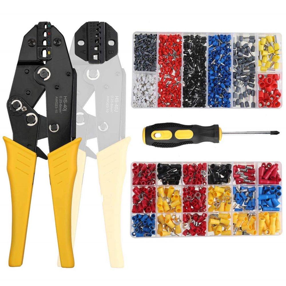 <font><b>HS</b></font>-<font><b>40J</b></font> <font><b>HS</b></font>-10WF crimping pliers for insulated non-insulated ferrules tube terminals self-adjusting 0.25-10mm2 23-7AWG brand tools image