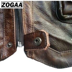 Image 5 - ZOGAA سترة رجل الجلود صدرية ريال جلدية سترة دراجة بخارية مع العديد من جيوب التصوير سترة جاكيت بلا إكمام