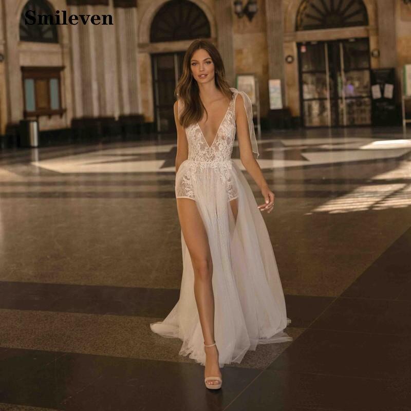 Smileven Sexy Beach Wedding Dress 2019 Lace Appliques Bride Dresses Side Split Spaghetti Strap Vestido De Noiva  Wedding Gowns