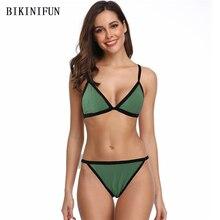 цена на New Sexy Solid Color Bikini Women Swimsuit Bordered Patchwork Bathing Suit S-XL Girl Backless Padded Swimwear Micro Bikini Set