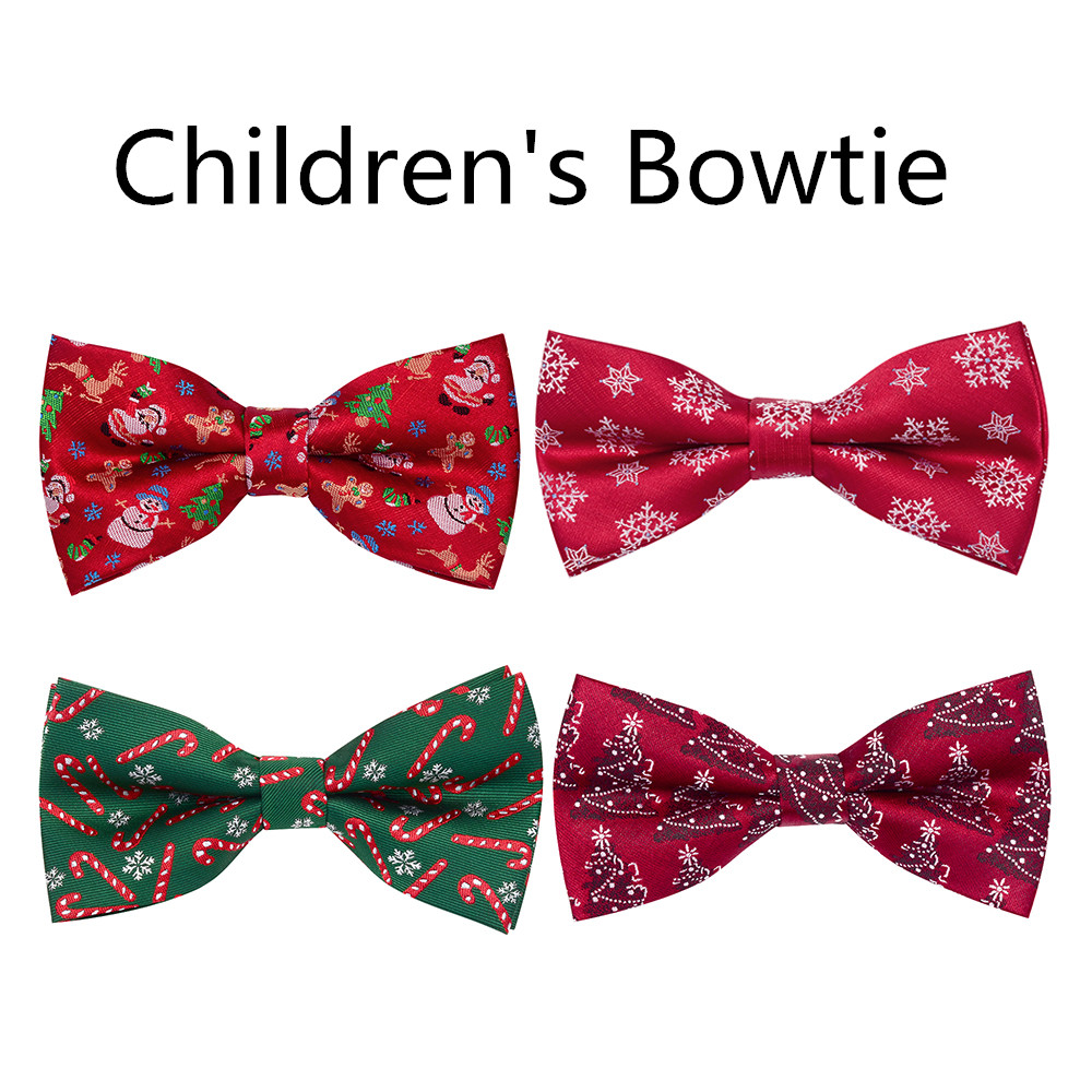 Black Self-tie Bow Tie with Red White /& Green Snowflakes