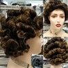 Dreamdiana 100% peruca de cabelo humano curto marrom loiro afro kinky encaracolado perucas remy cabelo brasileiro perucas completas 8