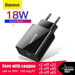 Baseus 18 Вт Быстрое Зарядное устройство USB поддержка быстрой зарядки 3,0 USB Type-C PD зарядное устройство мини портативное зарядное устройство для т...