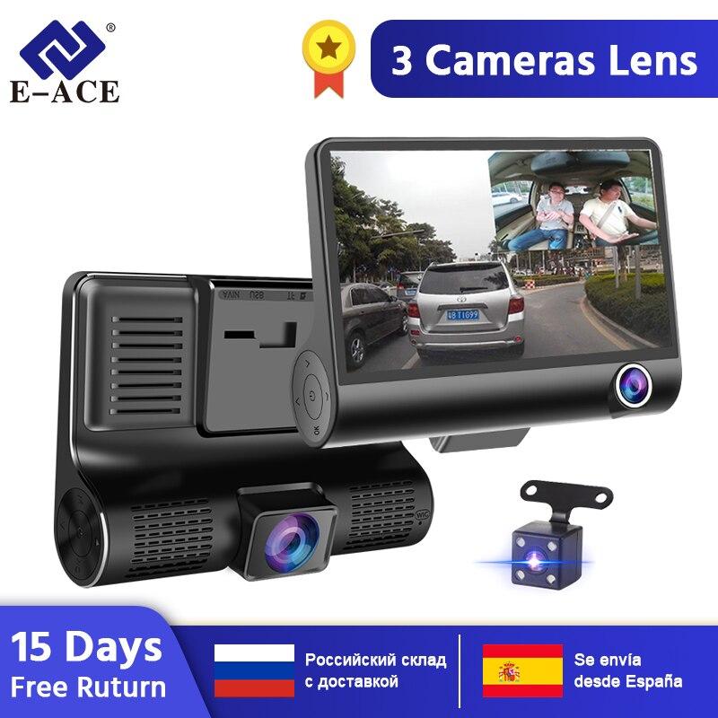 E-ACE Cámara DVR 3 cámaras lente 4,0 pulgadas Dash Cámara lente Dual con cámara de visión trasera grabadora de vídeo Auto registrador Dvrs dash Cam